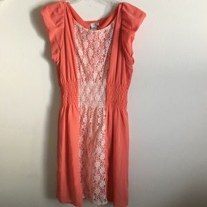 Dresses & Skirts -  3/$20 Coral Pink and Lace Dress